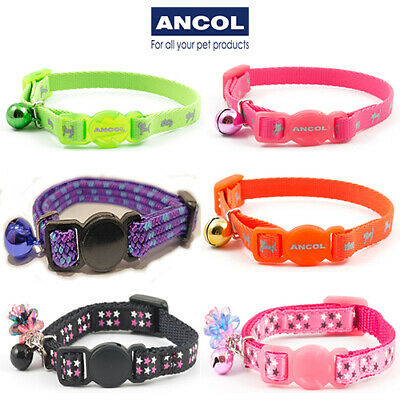 NEW Ancol Luxury Kitten Cat Collar With Bell Purple Black Red JTB