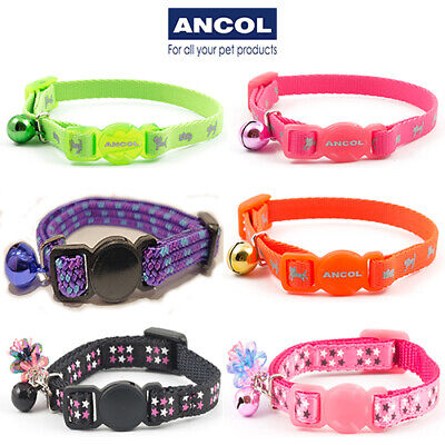 NEW Ancol Luxury Safety Kitten Collar Hi Vis Green Pink Orange Purple Red