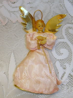 Vintage German  Wax Angel Christmas Tree Topper Pink Silk with Gold Accents Rare