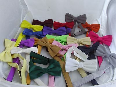 Any Polyester Ready Pre-tied Mens Bow tie<>Over 60 Colours<> P&P 2UK >>1st Class