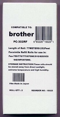 2-pack Fax Film Refill Rolls for your Brother 750 770 775 870 885 Fax Cartridge