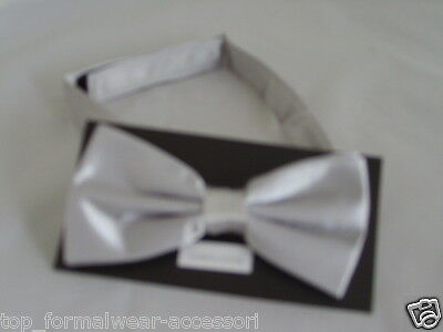 Shiny Polyester SILVER Ready Pre-tied Bow tie < *Over 60 colours* > in our SHOP
