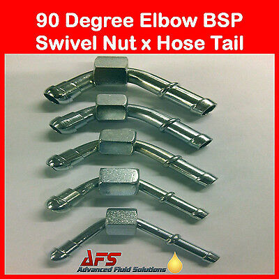 BSP 90 Deg Swept Hose Fitting Diesel Petrol Oil Cooler Tube Pipe Fuel Filter R6