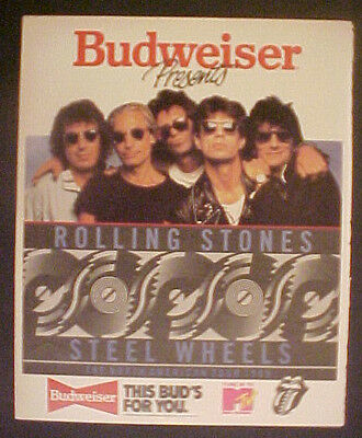 1989 Rolling Stones Steel Wheels Tour Rock & Roll Music Budweiser Beer Photo Ad