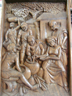 """Antique Relief Carving """"Meal Time"""" Very Cool OLD!"""