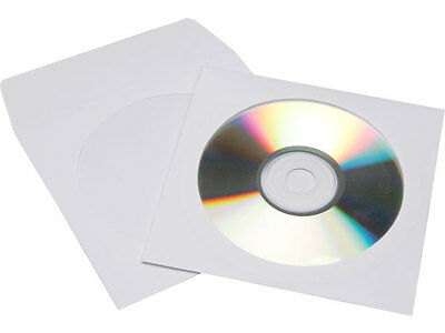 100 Premium White CD DVD R Disc Paper Sleeve Envelope Clear Window Flap 100g