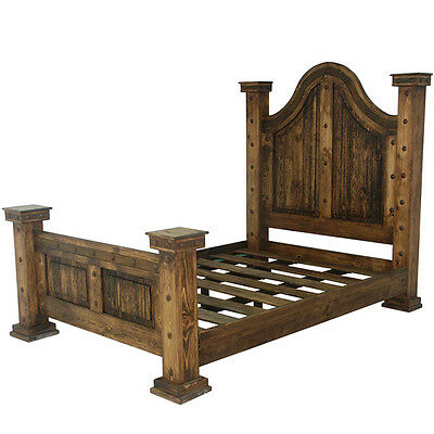 Laguna Rustic Bed, King Queen Rustic Western Cabin Lodge Real Solid Wood