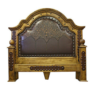 Tooled Leather Bed King Queen Rustic Western Cabin Lodge Real Solid Pine