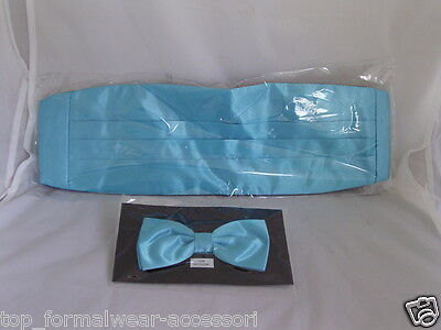 Turquoise BLUE Polyester Cummerbund & Bow Tie Set>P&P 2UK>1st Class > 60 Colours