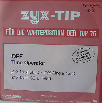 "7"" 1988 RARE ! OFF : Time Operator // MINT- \"