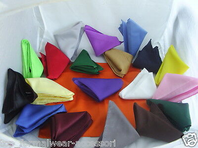 """Any Polyester Top Pocket Hankie-12"""" x 12"""" =30cm x 30cm-Squares>P&P2UK>1st Class"""