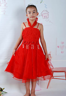 New Flower Girl Party Bridesmaid Pageant Dress in White,Pink,Red,Lilac 4-8 Years
