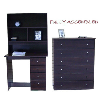 New Desk and Hutch 4 Drawer +Tallboy/Chest of drawers Storage In chocolate Brown