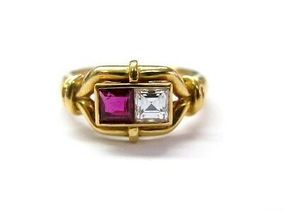 Fine Design Ruby Gem and Diamond Two-Stone Ring YG 18KT