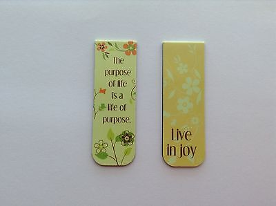 "MAGNETIC DOUBLE SIDED ""The purpose of Life"" LAMINATED CARD STOCK BOOKMARK"
