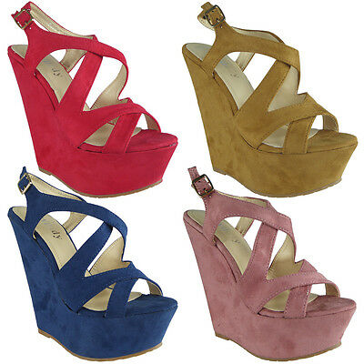 Womens Ladies Buckle Ankle Platform Peeptoe High Heel Wedges Shoes Sandal Size