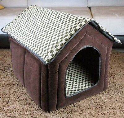 New Fashion Classical Grid Pet Dog Cat House Bed Brown Large XL