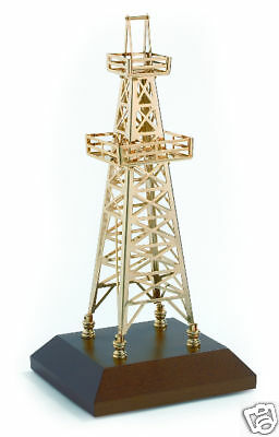 Oilfield Oil Well Derrick Drill Rig Gold Model w gas roughneck drillbit keychain