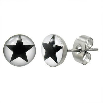 Urban Male Pair Of Mens Star Stud Stainless Steel Earrings New Free P+P