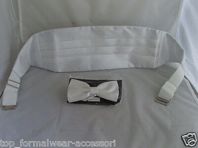 Shiny IVORY Polyester Cummerbund and Bow Tie Set>P&P 2UK>1st Class-in 60 Colours