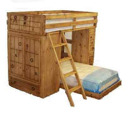 Youth Rustic Tic Tac Toe Bunk Bed Workstation Built In Real Solid Wood Rustic