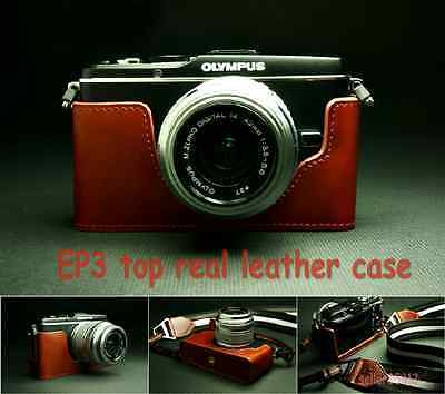 100% top Genuine Real leather case bag for Olympus EP3 bottom case brown