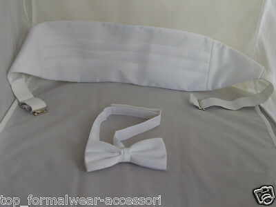 WHITE Polyester Cummerbund and Bow Tie Set>P&P 2UK>1st Class-in Over 60 Colours