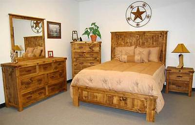 Reclaimed Natural Bedroom Set 5 piece Rustic Western Cabin Lodge Distressed
