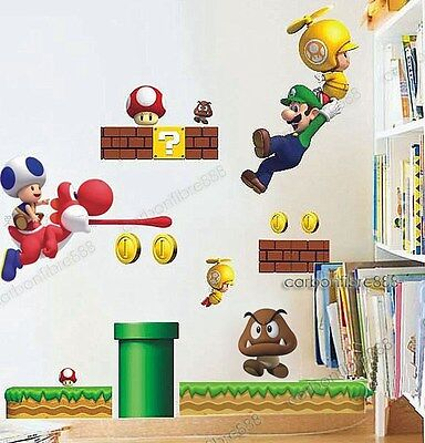 Large SUPER MARIO Kids/Boy/Nursery Room Game Wall Stickers Reusable&Transparent