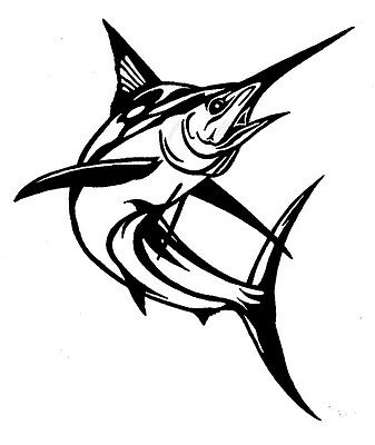 Marlin Fish Fishing Sticker Decal For Car, Trailer, 4Wd Brand New