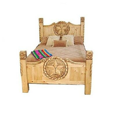 Rustic Lone Star Texas Rope Bed Real Wood King Or Queen Western Lodge Cabin