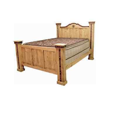 Western Alamo Iron Bed King Queen Rustic Metal Detail Real Solid Wood Rustic