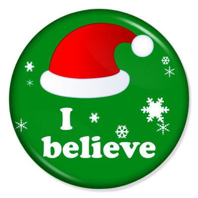"I Believe 25mm 1"" Pin Badge Button Santa Claus Christmas Xmas Hat"