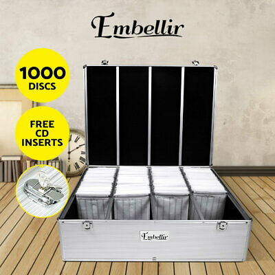 Embellir CD Case DVD Cases Storage Box 1000 Discs Aluminium Case DVD Folders