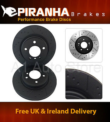 BMW 3 Series E90 320d 03/05- Front Drilled Grooved Brake Discs Black 300mm opt