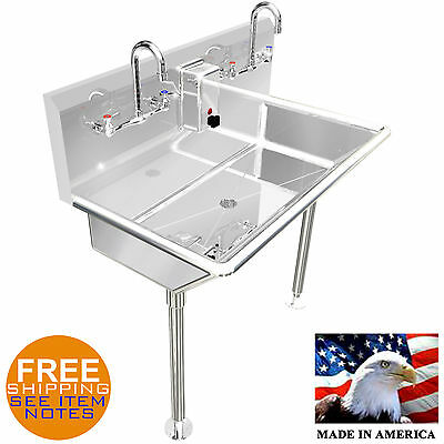 "Hand Sink Multi Station 2 Person 36"" Heavy Duty Stainless Steel Washing Lavatory"