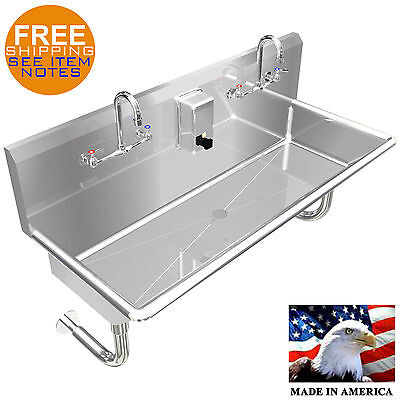 "Hand Sink Multi Users 2 Person 42"" Manual Faucet Stainless Steel 14Ga Wall Mount"
