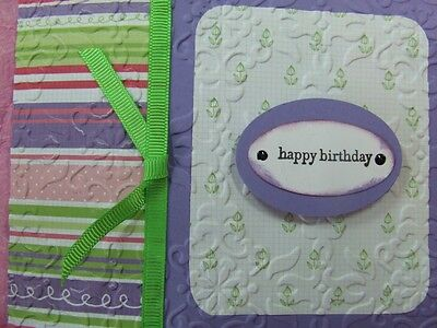 Handmade HAPPY BIRTHDAY Card Embossed LILAC  Using Stampin Up!
