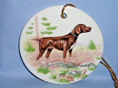 German Shorthair Pointer Dog 3 In Round Porcelain Christmas Tree Ornament-H