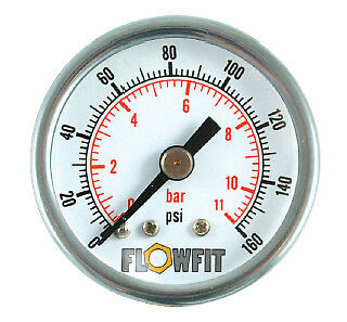 40mm Pressure Gauge Rear Entry 0-15 PSI AIR AND OIL-Free UK Delivery