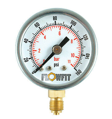 40mm Pressure Gauge Base Entry 0-160 PSI AIR AND OIL-Free UK Delivery