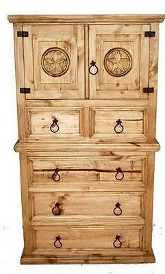 Rope Star Chest of Drawers Western Real Solid Wood Rustic Lodge Cabin