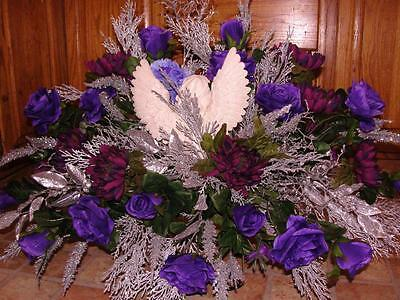 Angel KISS Memorial Day Funeral Sympathy Monument Grave Purple Silver Flowers