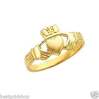 Irish Celtic Claddagh Band Ring Real Solid 14K Yellow Gold