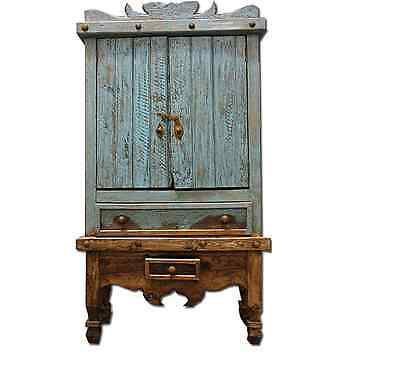 Turquoise Armoire Rustic Western Solid Real Wood Cabin Lodge Storage Aqua