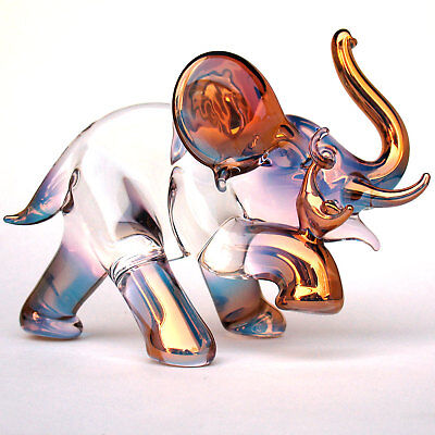 Elephant Mouse Circus Figurine of Pink Gold Blown Glass