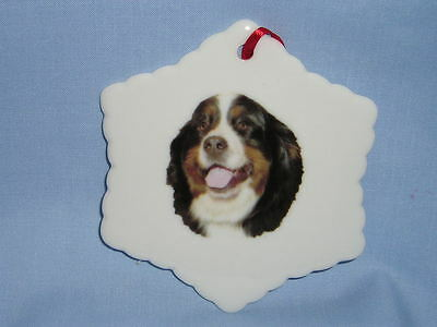 Bernese Mountain Dog Porcelain Snowflake Christmas Tree Ornament Fired Decal-H