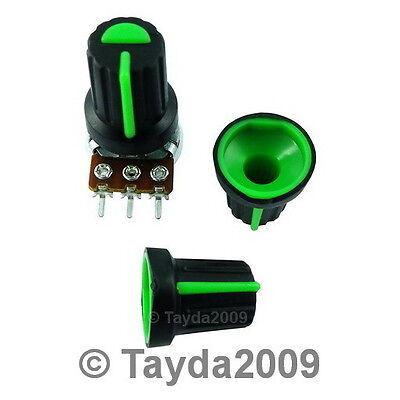 2 x Black Knob with Green Pointer - Soft Touch - High Quality - Free Shipping