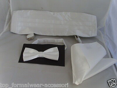 Shiny White Polyester Bow Tie + Cummerbund and Hankie Set >>> 60 Colours in SHOP