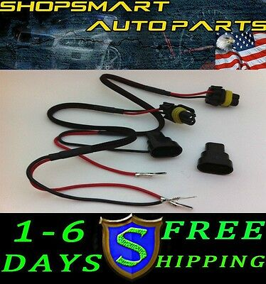 2 X 9005 9006 Hb4 Hb3 H10 9145 Hid Ballast Power Wire Cable Harness Single Beam